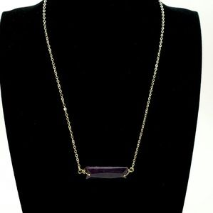 NWOT! Gold Tone Necklace Purple Stone
